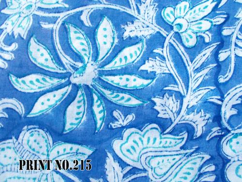 100% COTTON FABRIC BIG BLUE FLORAL DESIGN
