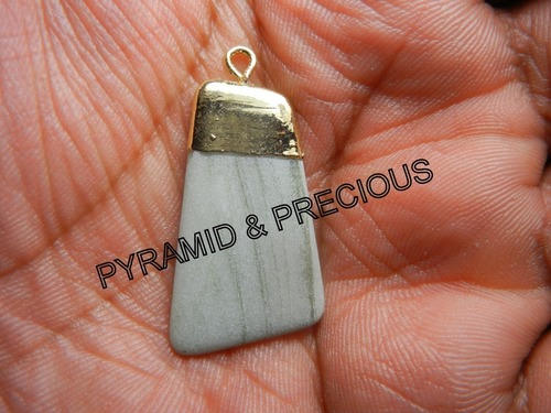 GRAY JASPER ELECTROPLATED PENDANT