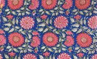5 Yard Hand Block Print100% Cotton Fabric Black Grey Mughal Geometrical Round Design
