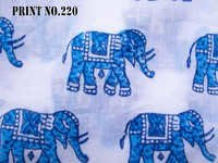 5 YARD HAND BLOCK PRINT100% COTTON FABRIC ROUND BLUE MATCHING MEDIUM SIZE ELEPHANT DESIGN