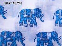 5 YARD HAND BLOCK PRINT100% COTTON FABRIC ROUND BLUE MATCHING MEDIUM SIZE ELEPHANT DESIGN