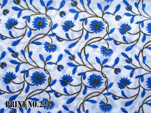 5 YARD HAND BLOCK PRINT 100% COTTON FABRIC BIG BLUE FLORAL JAAL DESIGN
