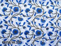 5 YARD HAND BLOCK PRINT 100% COTTON FABRIC BIG BLUE FLORAL JAAL DESIGN