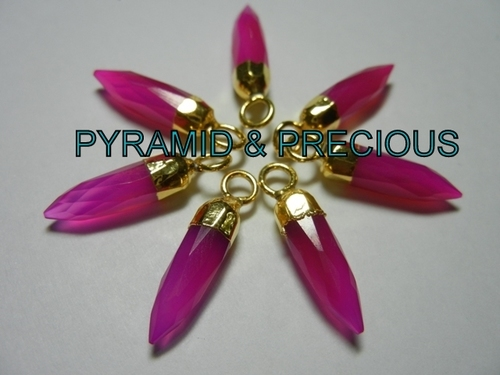 HOT PINK CHALCEDONY SPIKES ELECTROPLATED PENDANT