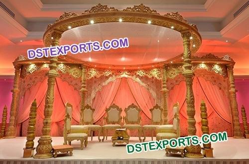 Indian Wedding Round Wooden Mandap