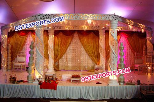 White Half Zali Half Crystal Wedding Mandap
