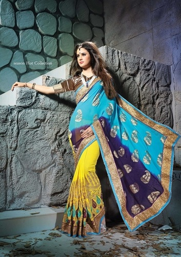 Fancy Designer Stylish Multi Embroidered With Heavy Border