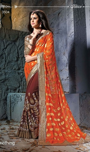 Fancy Designer Stylish Multi Embroidered With Heavy Border Saree