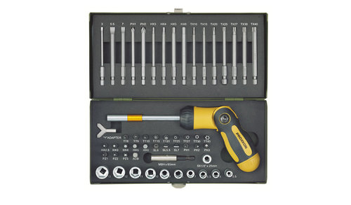 Screwdriver set with folding ratchet-screwdriver