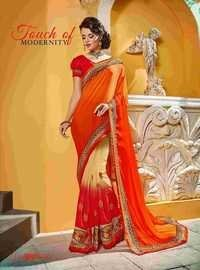 Fancy Designer Stylish Net and Heavy Cutwork Border  Saree-IB-1043-2807