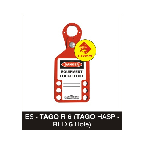 Lockout Tago Hasp - Red 6 Hole