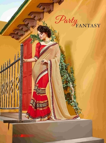 Fancy Designer Stylish  Heavy Multi Embroidered Border  Saree-IB-1043-2810