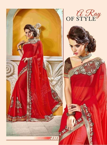 Fancy Designer Stylish Patch Work and Heavy Cutwork Border Saree-IB-1043-2818