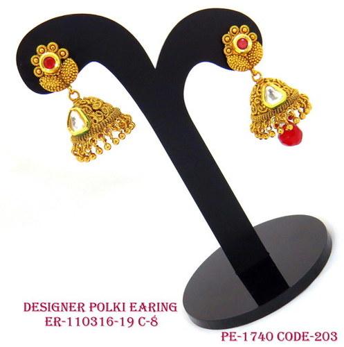 Copper Jhumka Ethinic Polki Earrings