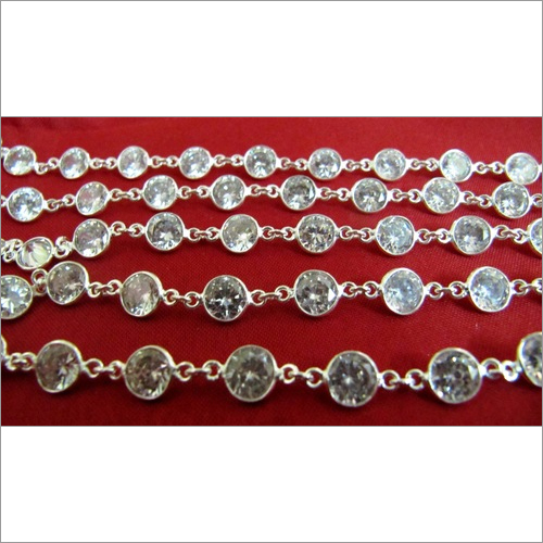 AAA Cubic Zirconia 6mm Diamond Cut connector chain