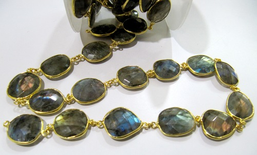 Labradorite Briolette Free Shape Connector Chain