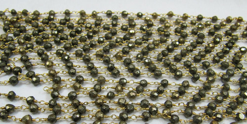 Natural Pyrite beaded Chain