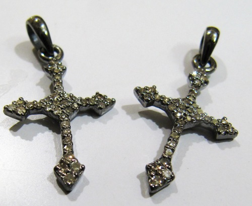 Sterling Silver Diamond Cross charm