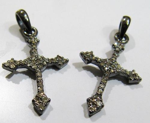 Sterling Silver Diamond Cross charm