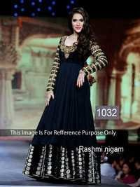 Indian Bollywood Replica Exclusive Designer Georgette Black Anarkali Suit-IB-515-1032