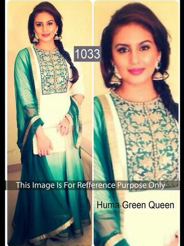Indian Bollywood Replica Exclusive Designer Silk Georgette Green Anarkali Suit-IB-515-1033