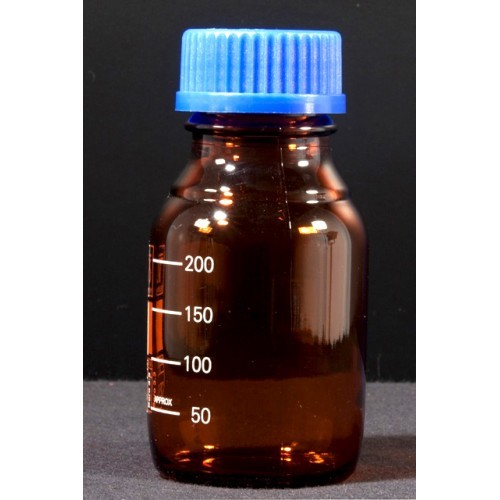 Reagent Bottle Narrow Mouth With Screw Cap and Pouring Ring - Amber