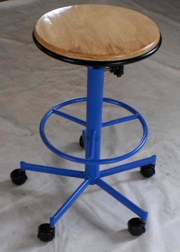 Revolving Lab Stool with Wooden Top
