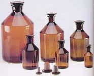 Reagent Bottle Narrow Mouth With Glass Stopper - Amber