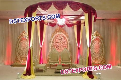 Indian Wedding Mandap With Oval Backdrop Frames