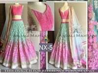 Fancy Designer Stylish Latest Pink and Green Lehenga