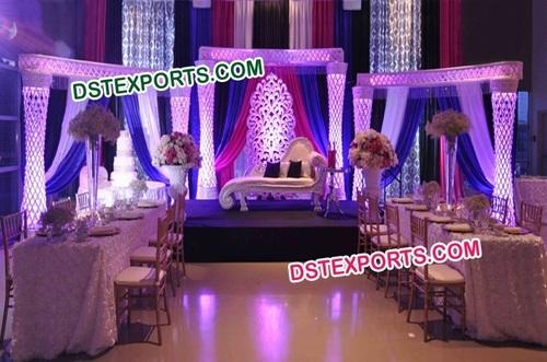 Asian Wedding Crystal Pillars Stage Set