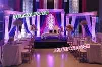 Asian Wedding Crystal Pillars Stage Set
