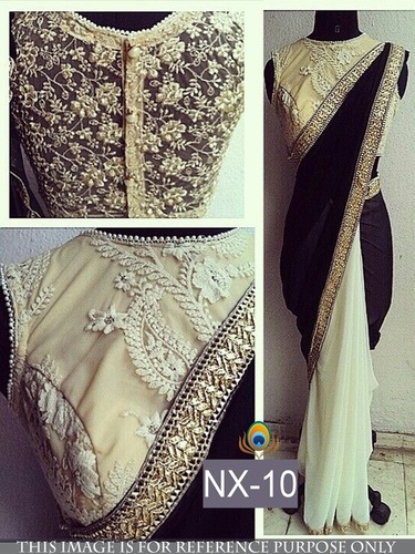 Fancy Designer Stylish Latest Georgette Royal Black Saree