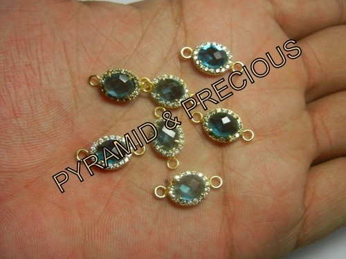 BLUE TOPAZ CZ SET CONNECTOR