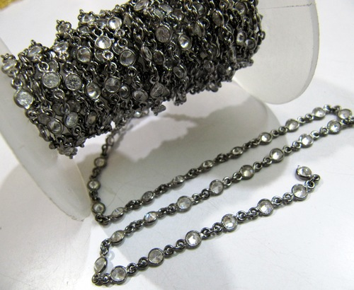 CZ Connector Chain Oxidized