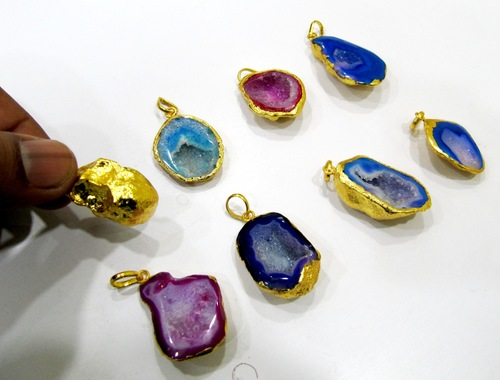 Geode Druzy Charms Gold Plated