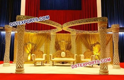 Wedding Golden Plazo Butterfly Mandap