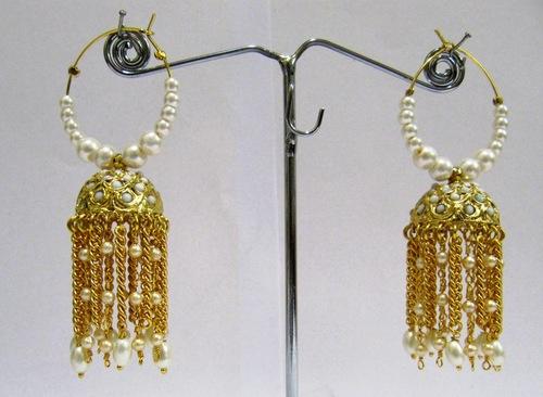 Gold Plated Pearl beaded Jhumki Earrings