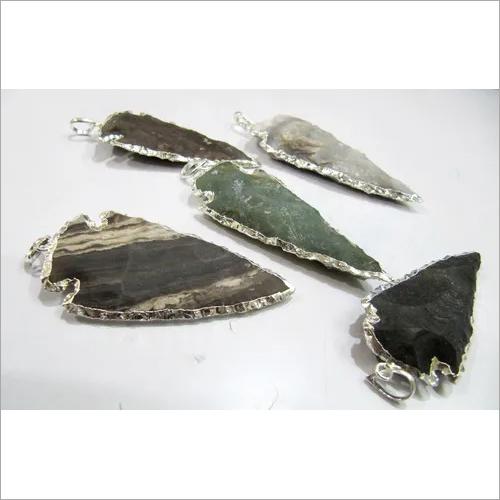 Jasper Arrowhead Charm Silver Electroplated Pendant