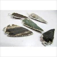 Jasper Arrowhead charm Silver Electroplated