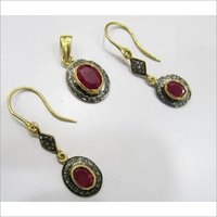 Silver Diamond Ruby Pendant Set