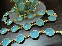 Aqua Chalcedony Connector Chain