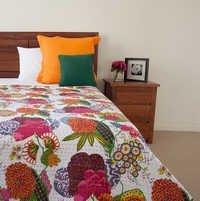 Fruit Print Kantha Quilt