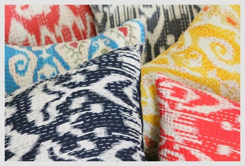 Ikat Kantha Cushion