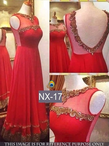 Fancy Designer Stylish Latest Red Gown