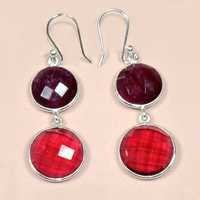 Dyed Ruby With Rubllite 925 Sterling Sliver Earring Jewelry
