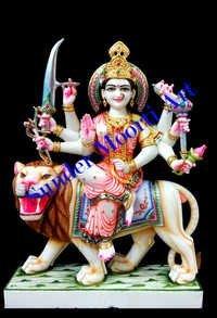 White Marble Durga Maa Moorti