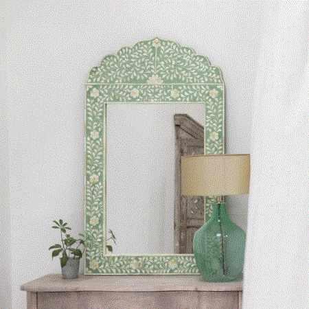 Adriana Green Bone Inlay Mirror