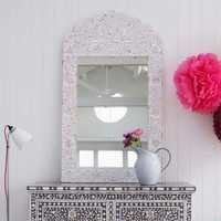 Adriana White Bone Inlay Mirror