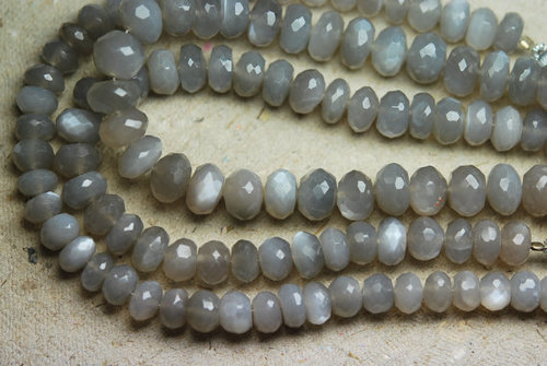 Gray Moonstone Faceted Rondelle